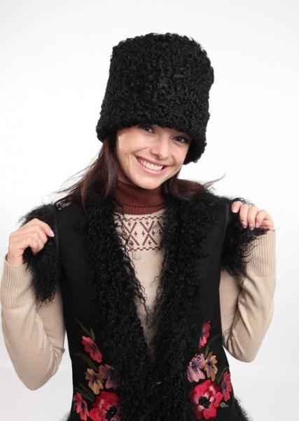 Купить женскую шапку папаху казачью из меха козы